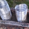 Stainless steel liners being installed